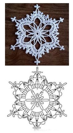 Free Crochet Doily Patterns, Crochet Snowflake Pattern, Crochet Stars, Christmas Crochet Patterns, Crochet Snowflakes, Thread Crochet, Crochet Granny, Crochet Doilies, Xmas Decorations