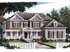 Greek Revival House Plan with 3312 Square Feet and 5 Bedrooms(s) from Dream Home Source   House Plan Code DHSW29114