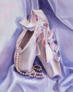 """Ballet Art - Slippers And Pearls - Dancing Pearls Watercolor by Irina - Print 5"""" x 7"""" $19.00 Approx £12.45"""