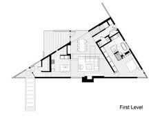 Planos de casa en terreno triangular, fachada e interiores | Construye Hogar