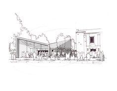 Modern Contemporary Fletcher Crane Architect Church Hall Teddington Surrey Sketch Concept 3d Conservation Archi sketches Проекты