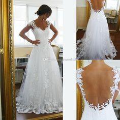 Wholesale Wedding Dresses - Buy 2014 Vintage Sheer A-Line Wedding Dresses Cheap Bridal Gown Dresses for Garden Beach Wedding Bride High Quality Lace V-Neck Plus Size Custom, $144.0   DHgate