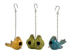 Set Of 3 Mercade Ceramic Bird Houses picture