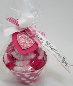 Fuzzy Slipper Cupcake, Wrapped & Tagged!    Cute idea for Valentine's Day