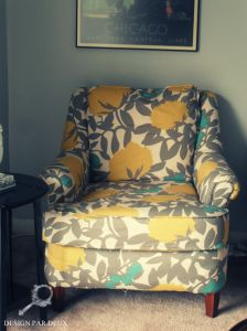 After of the recovered chair!  Minus the skirt- it's a whole different look with the contemporary updated  fabric!