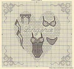 point de croix lingerie - cross-stitch Cross Stitching, Cross Stitch Embroidery, Cross Stitch Patterns, Mini Cross Stitch, Cross Stitch Heart, Petite Lingerie, Stitches Wow, Stitch Doll, Le Point