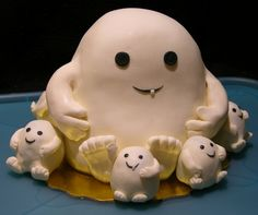 Adipose cake -- how fun would this be! The little ones could be done as cupcakes with little adipose toppers. The adipose.becomes adipose :D ; Doctor Who Cakes, Doctor Who Party, Sweets Cake, Cupcake Cakes, Dr Who Cake, Dercums Disease, Cake Wrecks, Geek Out, Creative Cakes