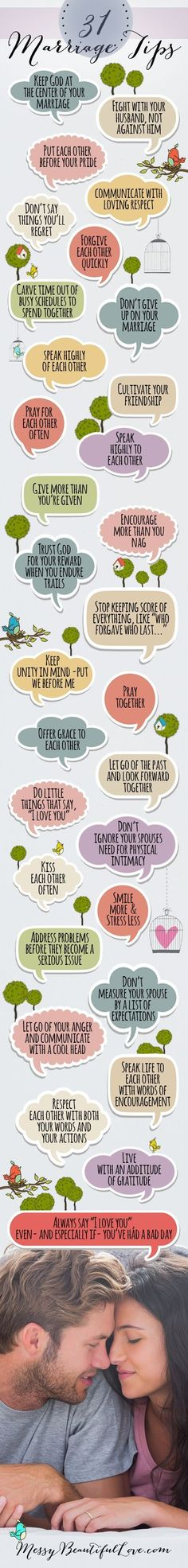 31 Marriage Tips! Maybe I can print out & put in a jar & we read one every day!