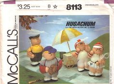 Hugachum Pattern - Sports Characters  Uncut  McCalls 8113 Tennis Golf Baseball Plush People by PrettyfulPatterns on Etsy
