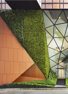 50 Green wall Design Inspiration is a part of our collection for design inspiration series.Green wall Design Inspiration is an inspirational series Singapore Architecture, Green Architecture, Sustainable Architecture, Sustainable Design, Contemporary Architecture, Architecture Details, Landscape Architecture, Architecture Interiors, Landscape Designs