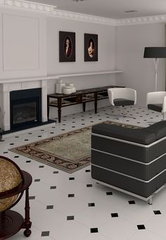 Alaska octagonal floor tiles with black tile insert | Heritage Tiles www.tiles.co.nz #design #living #tiles #interior_design