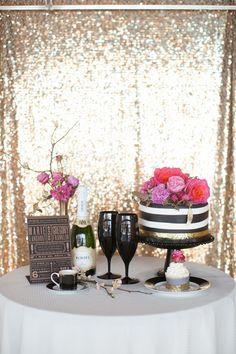 Kate Spade inspired wedding, cake table, modern gold, black and white