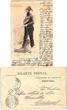 Vintage postcard, fisherman, Nazaré, 1906