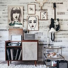 artwork, guitar mount, record player stand