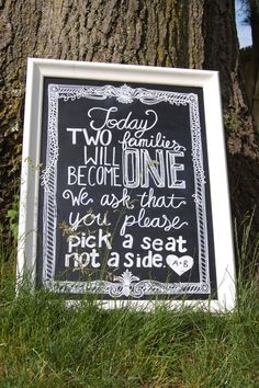 Pick a Seat, Not a Side Chalkboard Sign on Etsy, $75.00