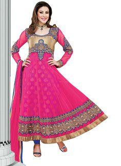Ravishing Pink Net Ankle Length #Anarkali Suit