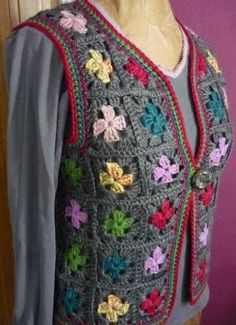 Granny Square Crochet Vest Tie Front by on Etsy Crochet Vest Pattern, Crochet Coat, Crochet Shirt, Crochet Jacket, Crochet Cardigan, Crochet Clothes, Crochet Patterns, Crochet Squares, Crochet Granny
