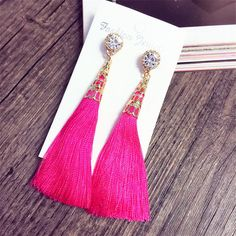 8cm Length  New Tassel Long Earrings For Women Bijoux Fashion Jewelry Wholesale Rose Red Black Royal Blue White Color-in Drop Earrings from Jewelry & Accessories on Aliexpress.com | Alibaba Group