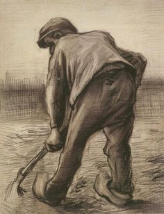 Digger in a Potato Field: February - Vincent van Gogh . Created in Nuenen in February, July - September, Located at Van Gogh Museum Art Van, Van Gogh Art, Vincent Van Gogh, Van Gogh Drawings, Van Gogh Paintings, Van Gogh Museum, Alphonse Mucha, Van Gogh Zeichnungen, Desenhos Van Gogh