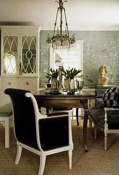 Love this dining room!  Modern bungalow: Asian wallpaper + brown + white dining room by Windsor Smith
