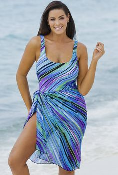 9b4ff08989 Beach Belle Mystic Stripe One Piece with Matching Sarong One Piece Swimwear