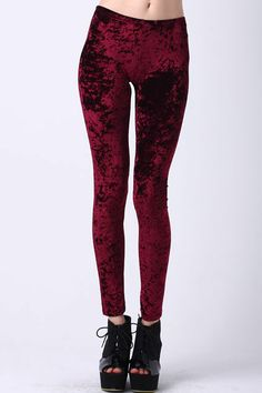 Classic Gold Velvet Wine-red Leggings