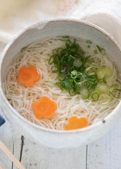 Hero shot of Cold Nyūmen in a bowl. Deep Fried Tofu, Japanese Grocery, Japanese Soup, Cold Noodles, Soup Dish, Asian Recipes, Ethnic Recipes, Summer Dishes, Side Dishes