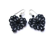Black tatted lace earrings lace jewelry - hearts