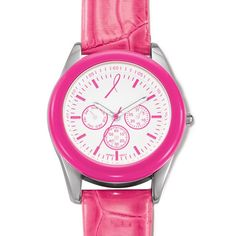 """Silvertone watch with a pink faux leather strap, pink bezel, and pink numbers on a white dial. Dial has 3 faux chronographs. · Band: 9"""" L x 5/8"""" with Buckle closure · Face with casing: 1 1/2"""" x 1 11/16"""" · Face without casing: 1 1/16"""" · Battery: Replaceable SR626SW · Movement: Quartz-PC21J · Imported For every bracelet purchased $4.00 will be donated to the Avon Foundation for Women Cancer Crusade. www.youravon.com/lalbrecht"""