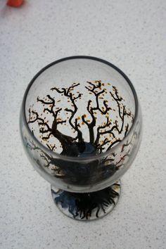 Hand painted wine glass/tea light holder www.emilyhunterhiggins.co.uk