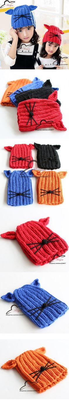 Nette Katze Ohr Hut Neue Mode Mädchen Hut Winter Hipster mützen Katze Strickmütze Kind Hut Häkeln Cat Whiskers Skullies mützen $6.88