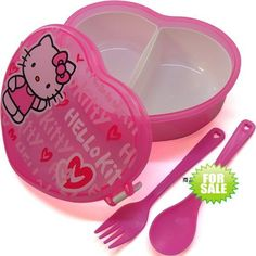 Cute Hello Kitty Pink Children 2 grid Heart-shaped Bento Lunch Box with Spoon+Fork. Sanrio Hello Kitty, Chat Hello Kitty, Hello Kitty Kitchen, Hello Kitty Rooms, Bento Kids, Bento Box Lunch, Lunch Kids, Hello Kitty Merchandise, Hello Kitty Collection