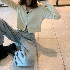 Dope Fashion, Minimal Fashion, Korean Fashion, Cool Outfits, Casual Outfits, Fashion Outfits, Baggy Jeans For Women, Mode Streetwear, Knit Jacket