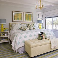 I like the shades/ window treatments in this room. Bright and Clean Bedroom - 20 Beautiful Beach Cottages - Coastal Living