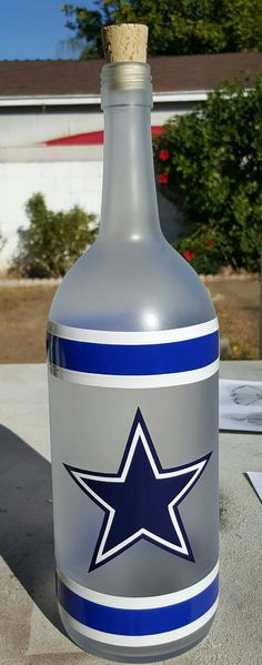 Large Hand Crafted Dallas Cowboys Wine Bottle Lamp