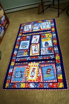 Cat in the Hat quilt -- my very own design and it's two-sided!