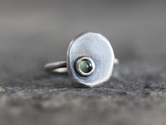 Nugget Sterling Silver Adjustable Ring Green Peridot Cabochon Recycled Silver Organic Eco-friendly Contemporary Handmade Jewelry by MarthaLjewellery on Etsy https://www.etsy.com/listing/225958027/nugget-sterling-silver-adjustable-ring