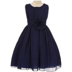 Navy Blue Yoryu Chiffon Flower Girl Dresses - LittleChat via Bonanza
