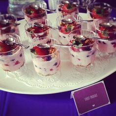 mini party fruit parfaits for bridal shower Fruit Parfait, Purple Party, Pink Foods, Tea Party Bridal Shower, Fresh Fruit, Good Food, Fun Food, Treats, Ethnic Recipes