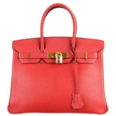 Pre-owned Hermès Chevre Birkin 30 Bag (€7.360) ❤ liked on Polyvore featuring bags, handbags, purses, bolsas, square purse, square bag, red bag, clasp purse and hermes handbags