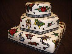 "kiss tattoo #wedding cake #rock ""n roll wedding theme"