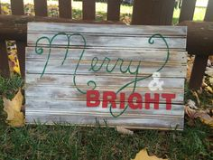 Rustic Christmas Sign- Merry and Bright by CarlsonWoodworkers on Etsy https://www.etsy.com/listing/255347762/rustic-christmas-sign-merry-and-bright
