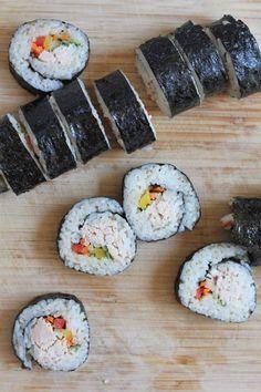 Tuna Veggie Rolls  ..  using canned albacore tuna. Fresh, EASY and delicious!!