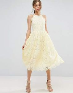 ASOS Lace Pinny Scallop Edge Prom Midi Dress #prom
