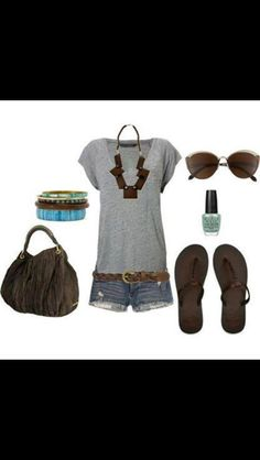 Gray, short-sleeved shirt, jean shorts, flip-flop-like sandals, and statement necklace.