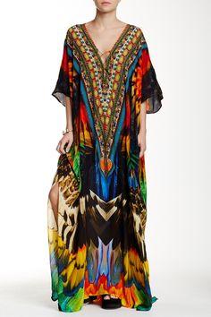 Embellished Printed Convertible Maxi Kaftan by Parides on @HauteLook