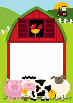 Free Printable Farm Party Invitations, Labels or Cards.