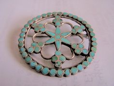 OLD VINTAGE ZUNI DISHTA INLAID TURQUOISE & SILVER PIN BROOCH PENDANT