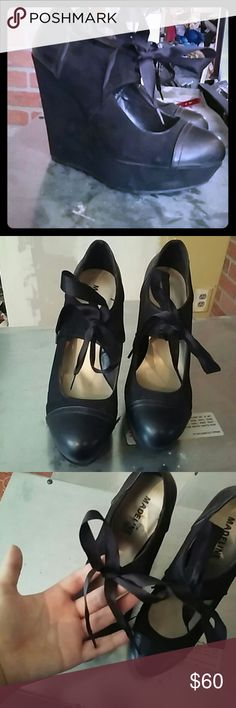 Cute Black wedges Bought for an event and never worn again because im a tomboy. madeline girl  Shoes Heels