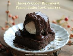 Theresa's Gooey Brownies & Peanut Butter Ice-Cream is a wonderful, gluten free, sugar free treat!  THM S/Low Carb